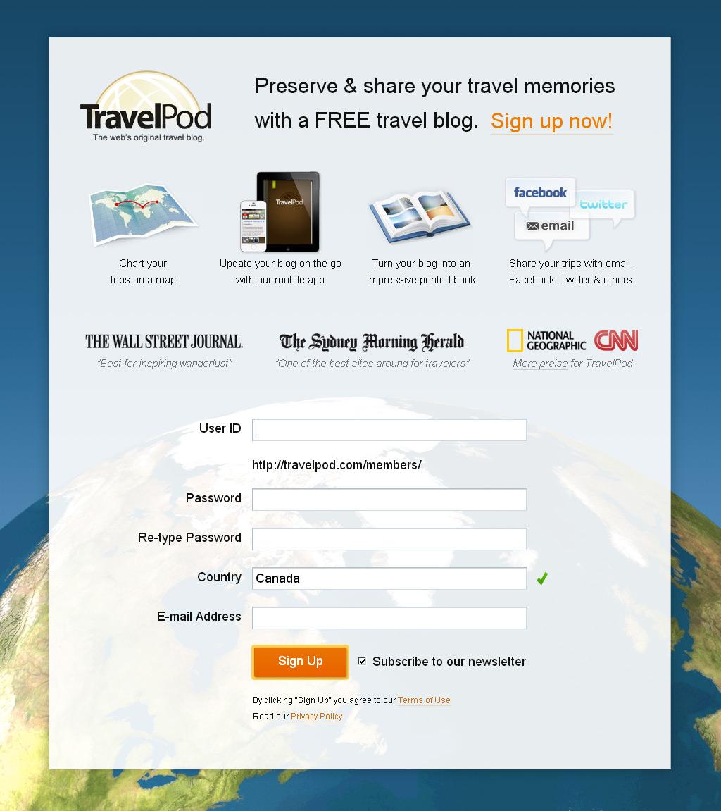 TravelPod Landing Page